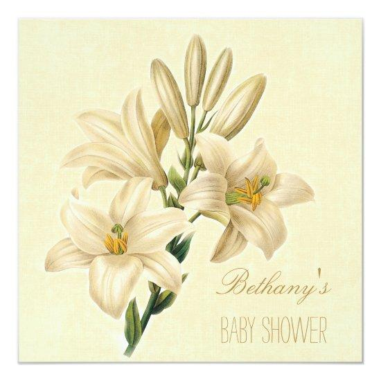 Chic vintage lily flowers baby shower invitations chic vintage lily flowers filmwisefo