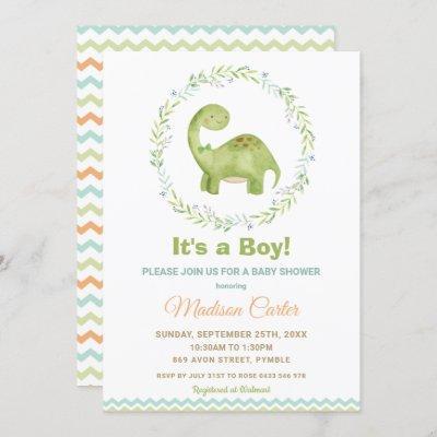 Chic Watercolor Cute Dinosaur Boy Baby Shower Invitation