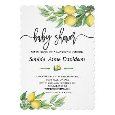 Chic Watercolor Lemon Tropical BABY SHOWER Invitation