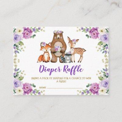 Chic Woodland Purple Floral Baby Diaper Raffle Enclosure Card