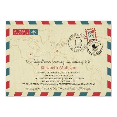 Chicago / France Airmail   Baby Shower Invitation
