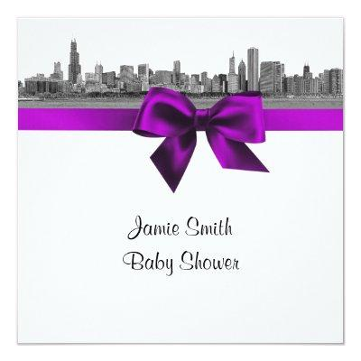 Chicago Skyline Etched BW Violet SQ S Invitations