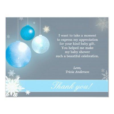 Christmas Baby Boy Baby Shower Thank You Invitations