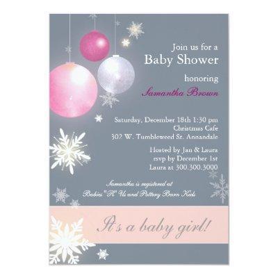 Christmas Baby Girl Invitations