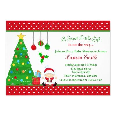 Christmas Baby Shower Invitations Boy