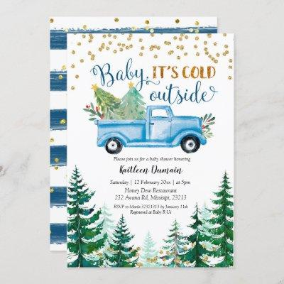 Christmas Blue Truck Baby It's Cold Outside Invitation