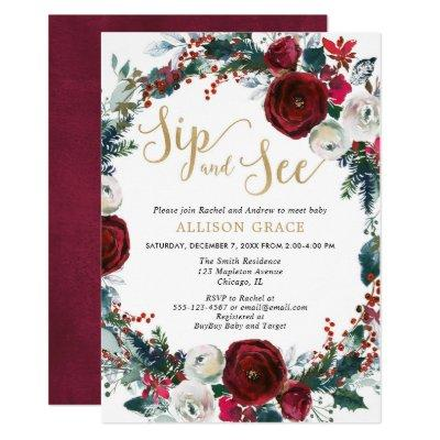 Christmas burgundy gold sip and see baby shower invitation