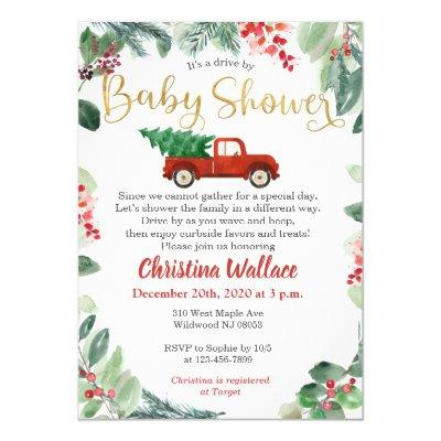 Christmas Drive By Baby Shower Invitations