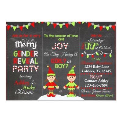 Christmas Elf Gender Reveal Invitation