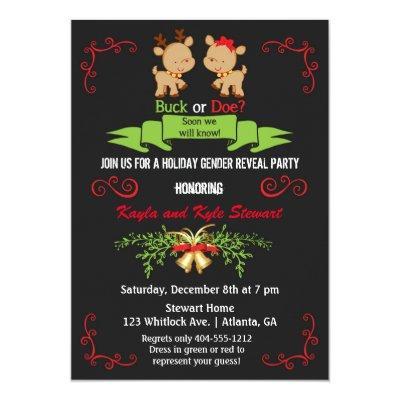 Christmas Gender Reveal Party Buck or Doe Reindeer Invitations