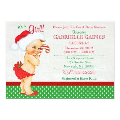 Christmas Girl Baby Shower Invitations Personalized
