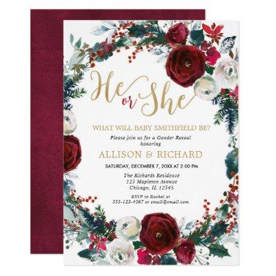 Christmas gold burgundy greenery gender reveal invitation