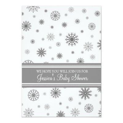 Christmas Gray Snowflake Custom Invitations