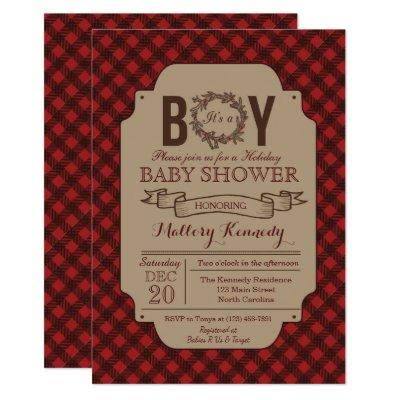 Christmas Holiday Boy Plaid Baby Shower Invitation