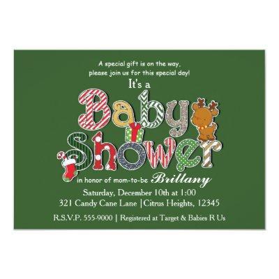 Christmas Holiday Festive BABY SHOWER Invitations
