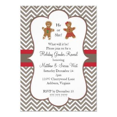 Christmas Holiday Gender Reveal Invitations