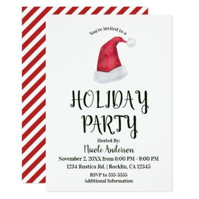 Christmas Holiday Party Red Santa Hat & Stripes Invitation
