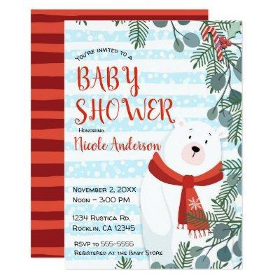 Christmas Holiday Winter Polar Bear Baby Shower Invitation