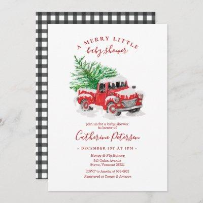 Christmas Little Red Truck Baby Shower Invitation