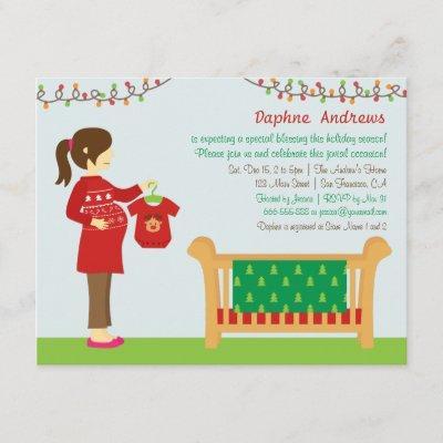 Christmas Mum Baby Shower Party Invitations