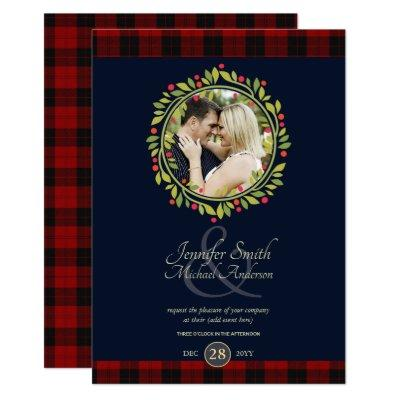 Christmas Navy Blue Wedding PHOTO Buffalo Plaid Invitation