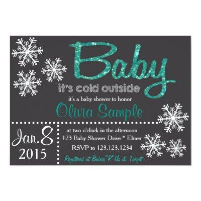 Christmas or Winter Baby Shower Invitations