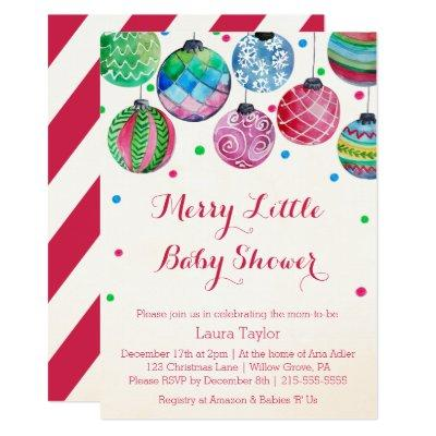 Christmas Ornaments Merry Little Baby Shower Invitation