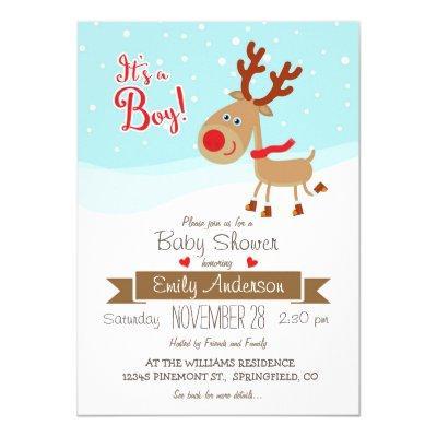 Christmas Reindeer, Boy Baby Shower Invitation