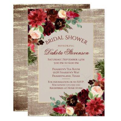 Christmas Rustic Boho Burgundy Gold Bridal Shower Invitations