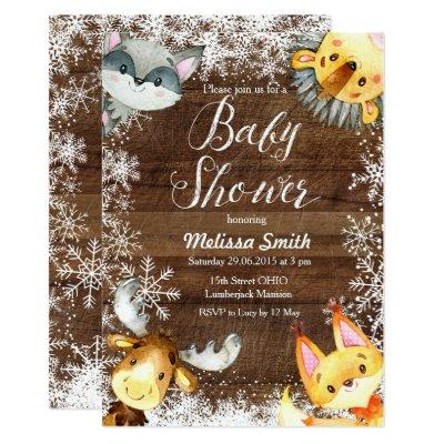 Christmas Rustic Woodland Baby Shower Invitations