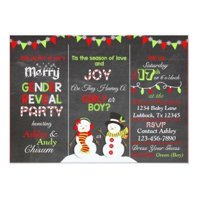 Christmas Snowman Gender Reveal Invitation