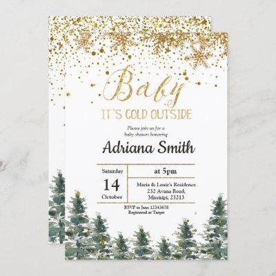 Christmas Tree Baby Shower invitation Winter