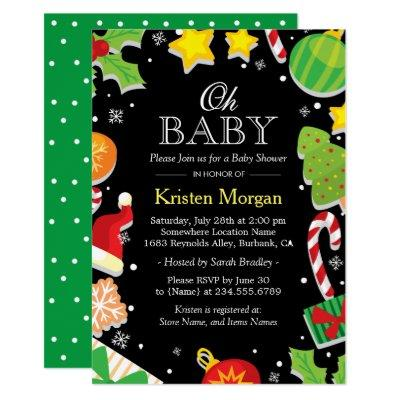 Christmas Tree Holly Berries Cute Baby Shower Invitations