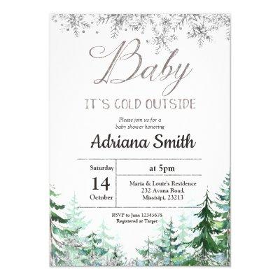 Christmas Tree Silver Snowflakes Baby Shower Invitation