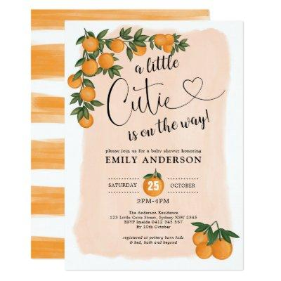 Citrus Baby Shower Botanical Orange Little Cutie Invitation