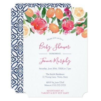 Citrus Bright Florals Baby Shower With Azulejos Invitation