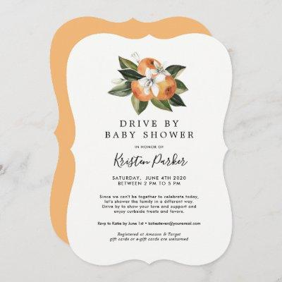 Citrus Modern Drive By Baby Shower Invitations