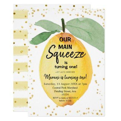 Citrus Our Main Squeeze Birthday Party Invitation