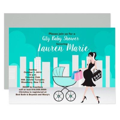 City Carriage Neutral Pregnant mom Baby Shower Invitations