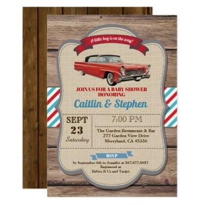 Classic car baby shower Invitations. Vintage red Invitations