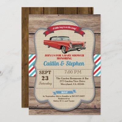 Classic car baby shower invitation. Vintage red Invitation