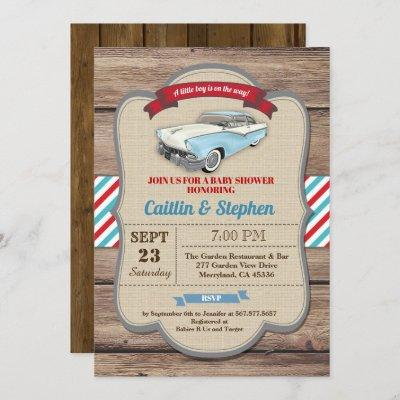 Classic car baby shower invitation. Vintage style Invitation