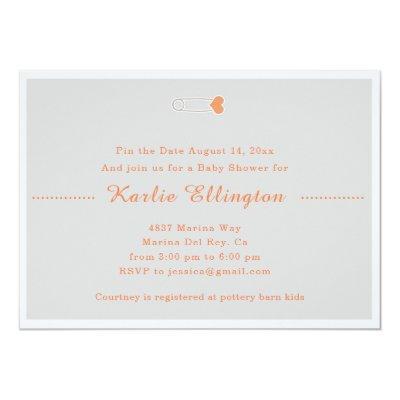 Classic Orange Baby Pin Baby Shower Invitation