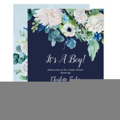 Classic White Flowers Navy It's A Boy Baby Shower Invitation