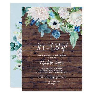 Classic White Flowers Rustic It's A Boy Invitation