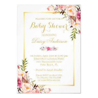 Classy Chic Floral Golden Frame Baby Shower Invitations