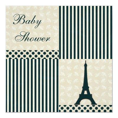 Classy Eiffel Tower Neutral Baby Shower Invitation
