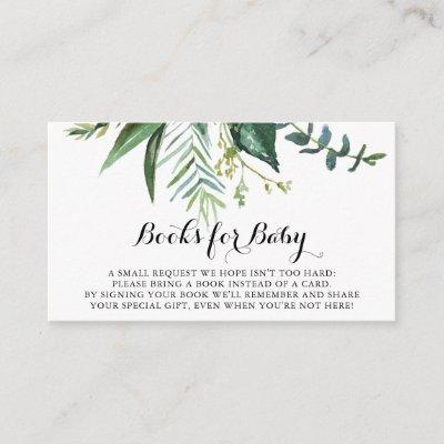Classy Greenery Tropical Baby Shower Book Request Enclosure Card