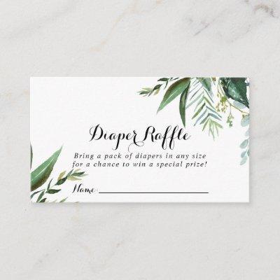 Classy Greenery Tropical Diaper Raffle Ticket Enclosure Card