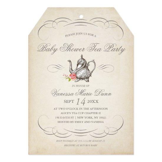 Classy Vintage Tea Party   Baby Shower Card